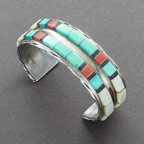 Vintage Zuni Raised Channel Inlay Bracelet by Martin and Esther Panteah