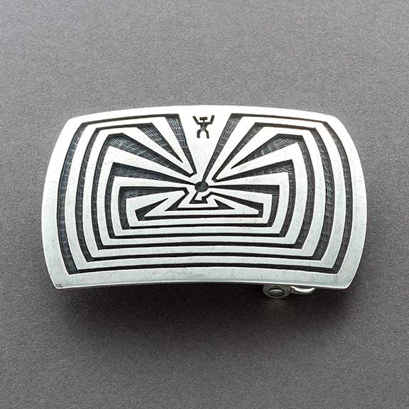 Vintage Hopi Overlay Man In the Maze Buckle By Mark Tawahongva
