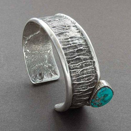 Glenda Loretto Silver Bracelet with Single Turquoise Stone