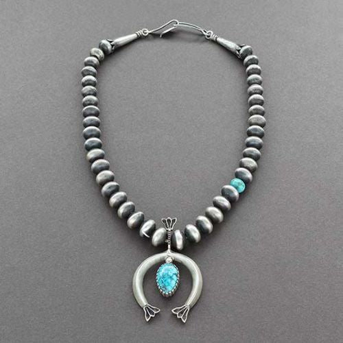 Allison Snowhawk Lee Necklace of Handmade Silver Beads & Naja