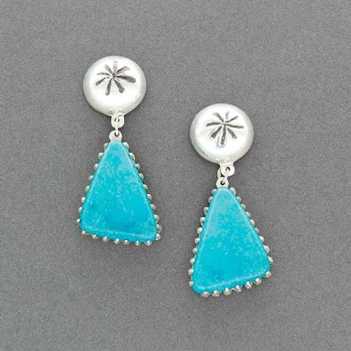 Debbie Silversmith Earrings of Turquoise and Silver Dangles