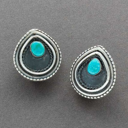Vintage Navajo Earrings of Turquoise Teardrops Clips