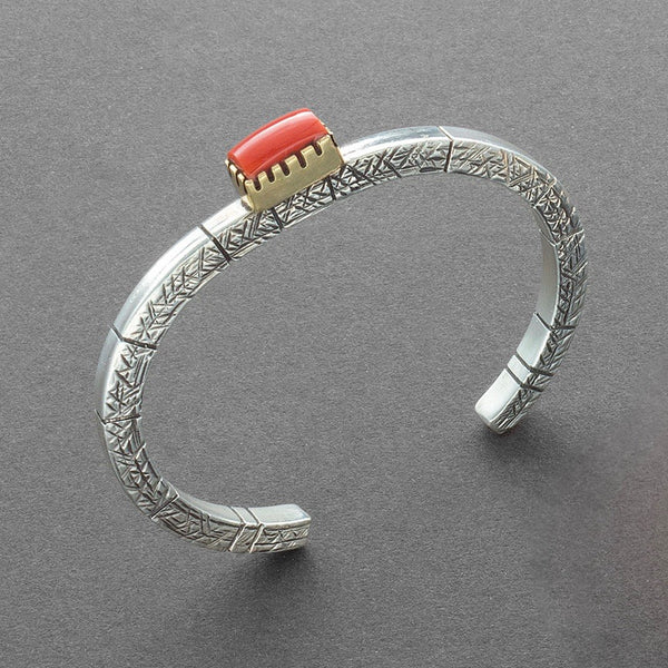 Gail Bird and Yazzie Johnson Silver Bracelet of Silver and Coral