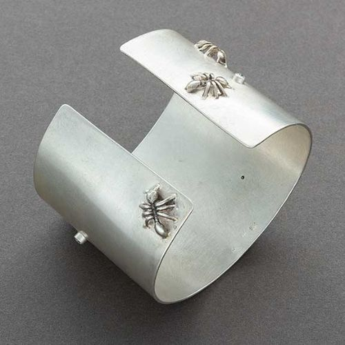 Keri Ataumbi Wide Silver Bracelet with Diamonds and Ants
