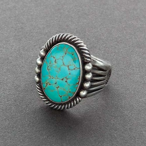 Harry H. Begay Ring of Turquoise and Silver Oval