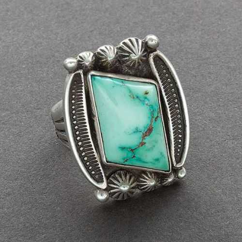 Harry H. Begay Ring with Domed Turquoise in Silver