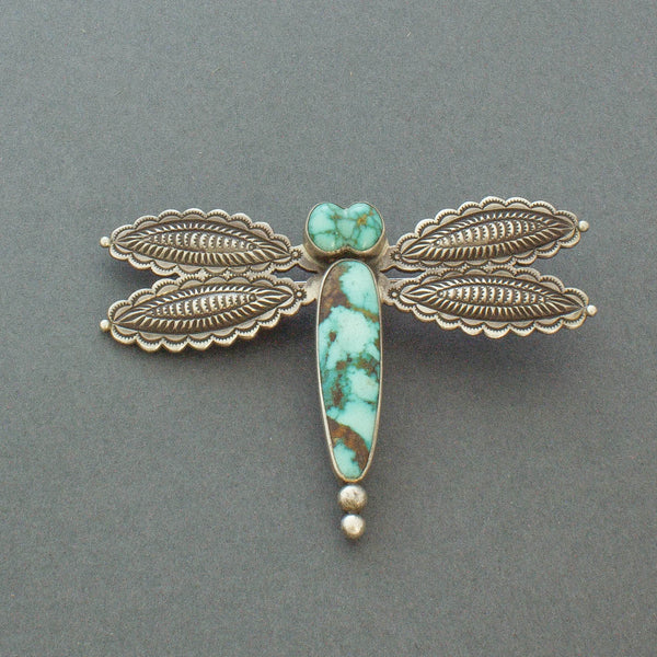 Perry Shorty Dragonfly Pin of Silver and Turquoise