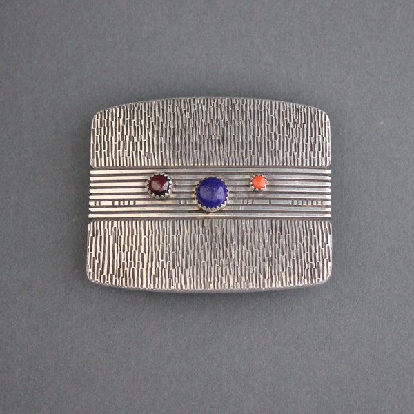 Norbert Peshlakai Silver Buckle Set With 3 Different Stones