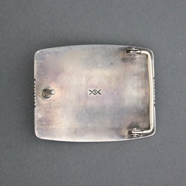 "Silver Buckle By Norbert Peshlakai ""Feathered Warrior II"" Reverse"