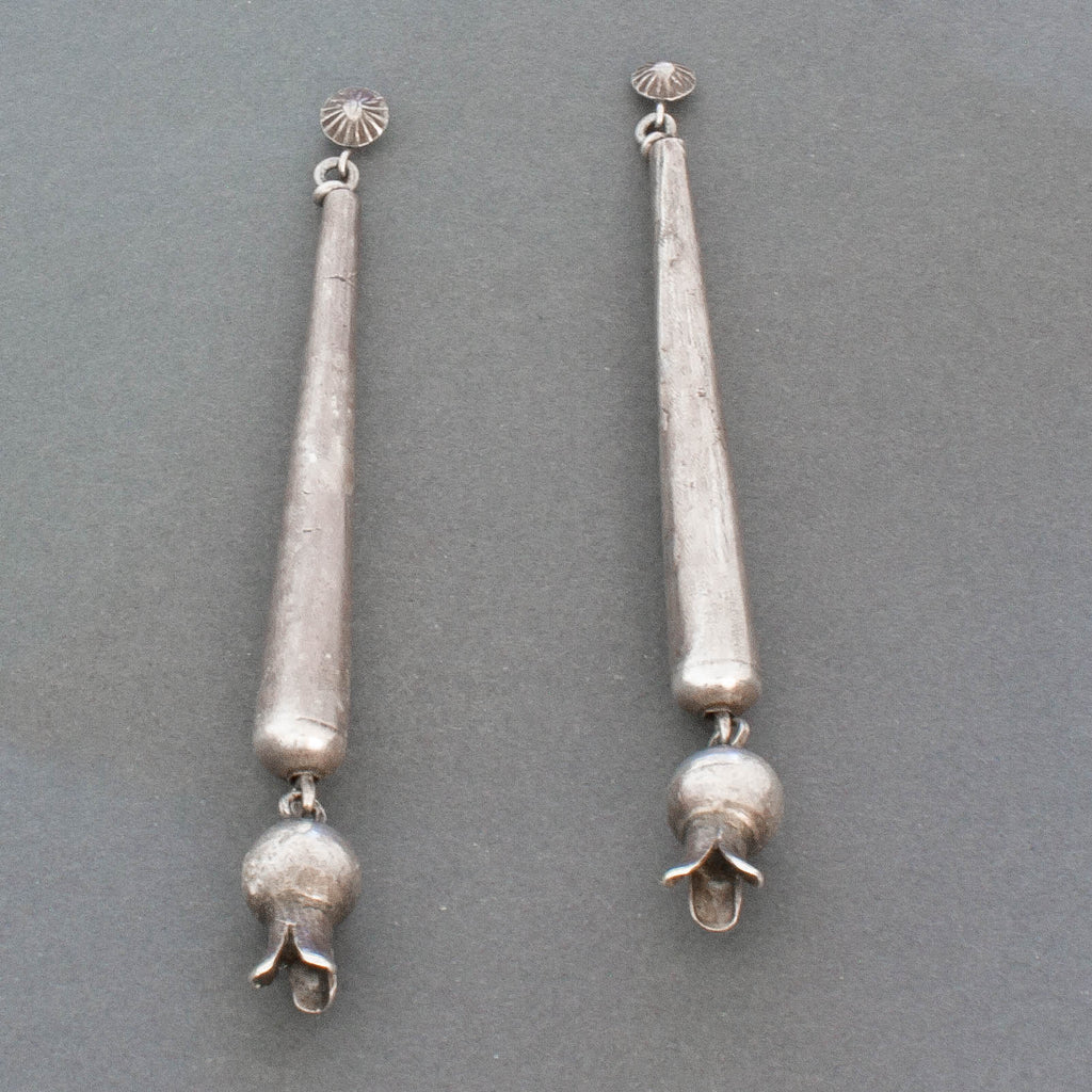 Historic Navajo Silver Blossom Earrings