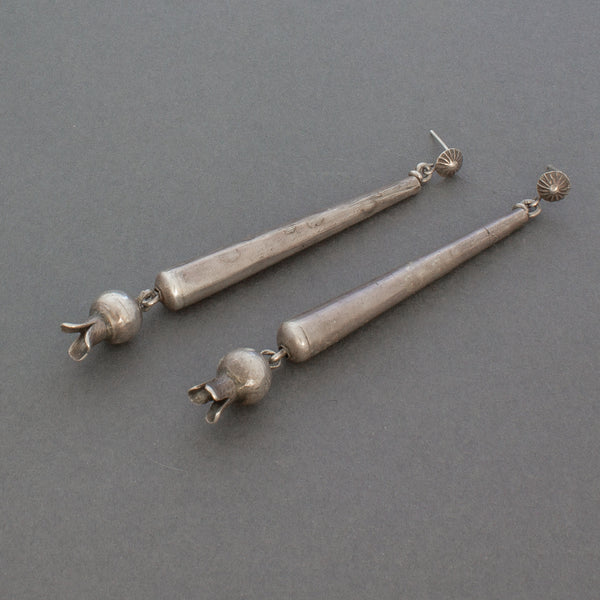 Historic Navajo Silver Elongated Blossom Dangle Earrings