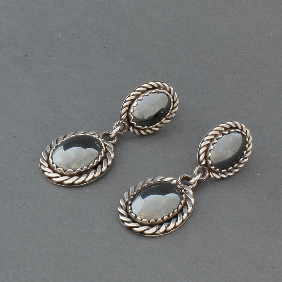 Dangle Earrings of Silver Rope Work and Hematite By Liz Wallace