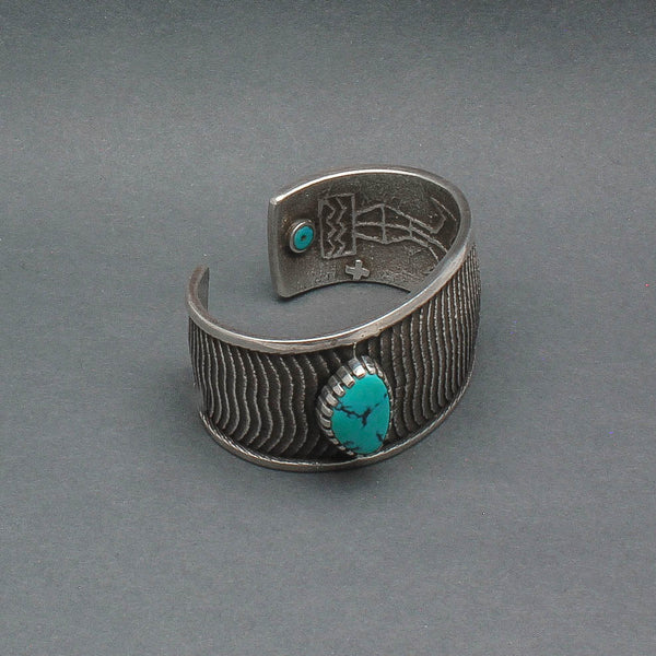 Robert Sorrell Bracelet of Textured Silver With Turquoise and Silver