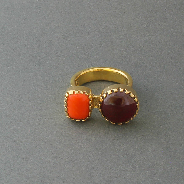 Ring of 18kt Gold And Garnet and Coral By Gail Bird and Yazzie Johnson
