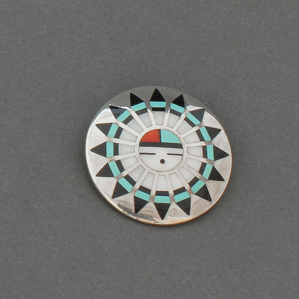 Vintage Zuni Inlay Sunface Or Tawa Pin Pendant