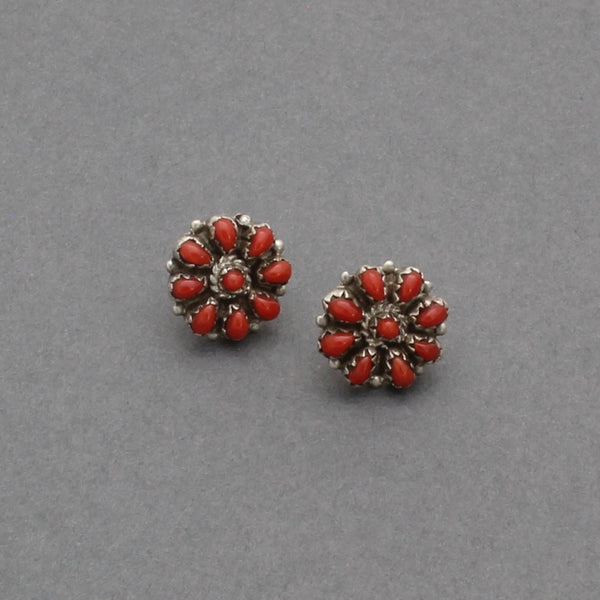 Vintage Zuni Earrings of Coral Petit Point Clusters