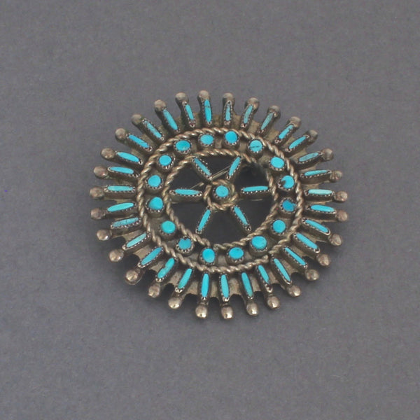 Vintage Zuni Pin of Turquoise and Silver Petit Point