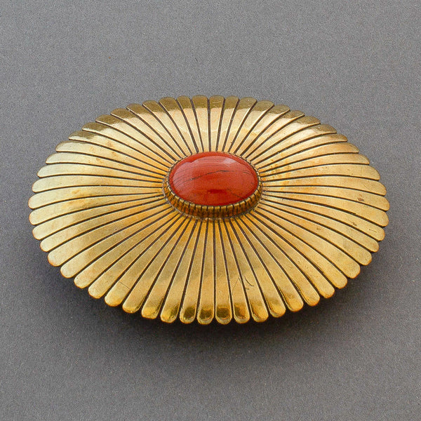 Early Yazzie Johnson Buckle of Brass Set With Red Jasper
