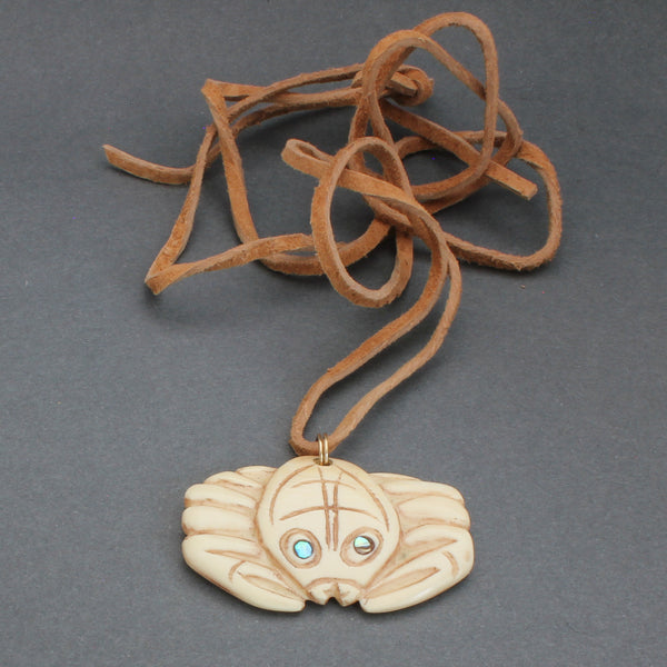 Vintage Northwest Coast Carved Pendant of a Crab
