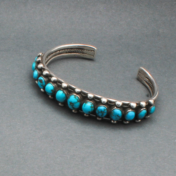 Vintage Navajo Row Bracelet With Handcut Turquoise