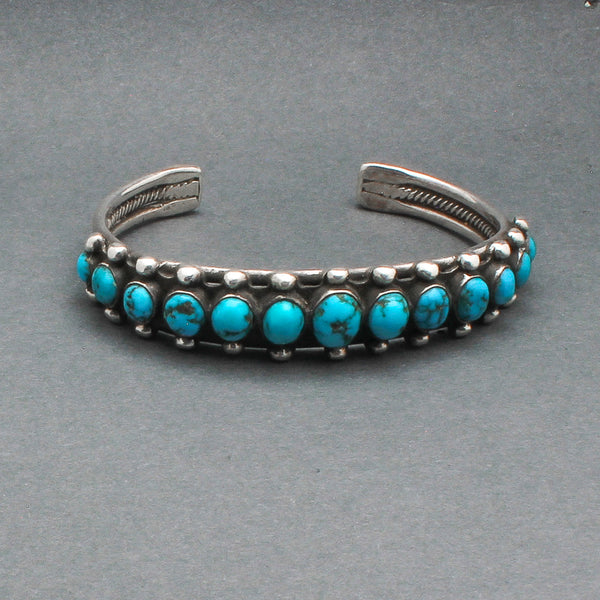 Vintage Navajo Row Bracelet With Handcut Natural Turquoise