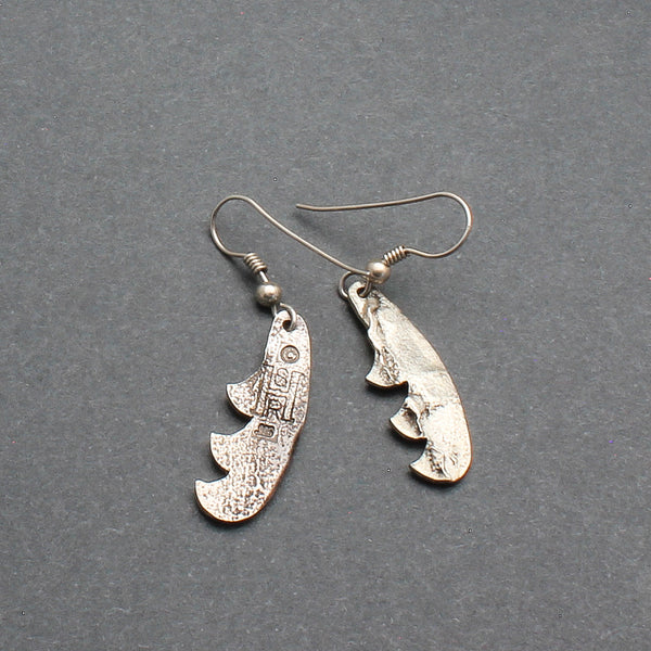 Silver Tufa Cast Dangle Feather Earrings By Shane Hendren