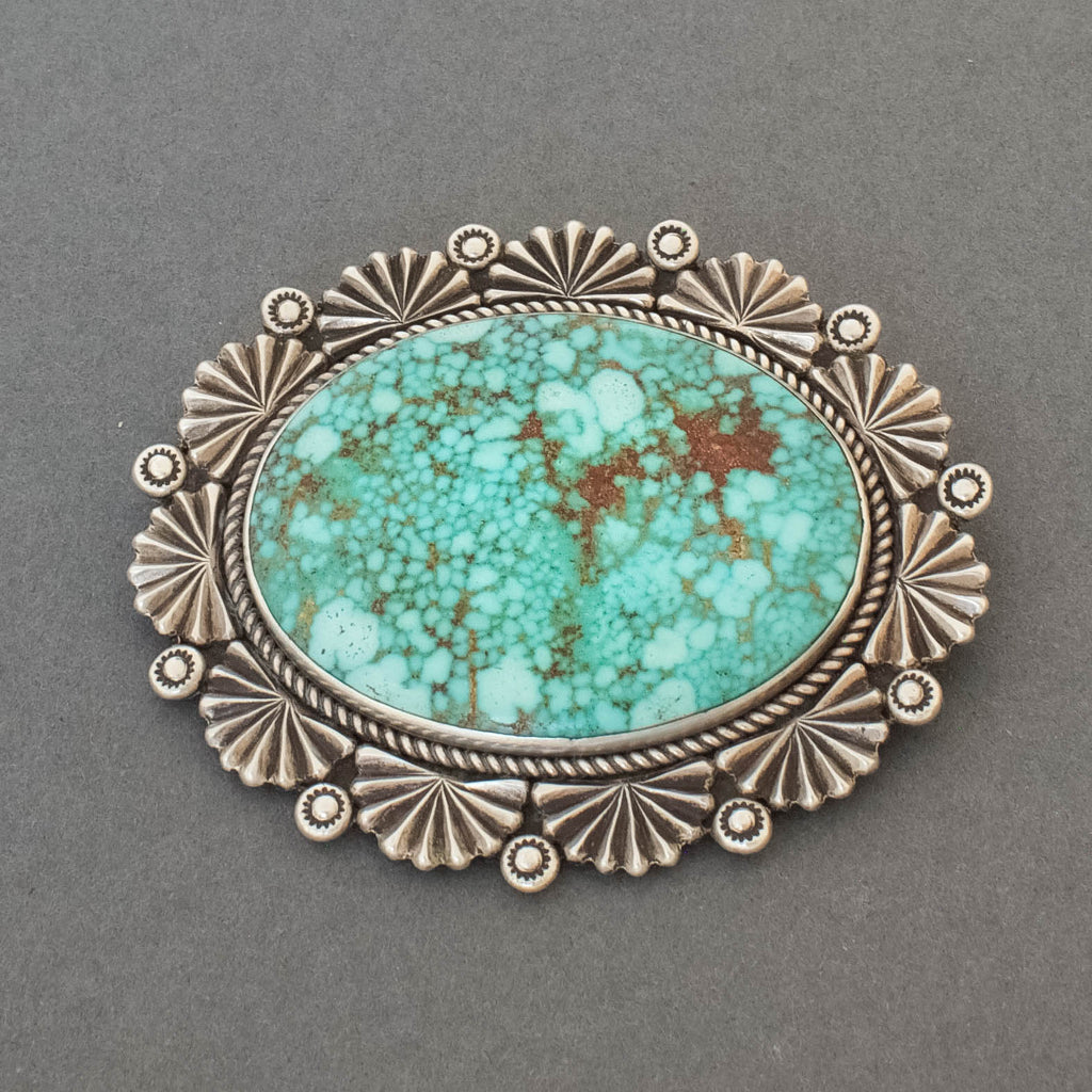 Oval Pin By Perry Shorty of High Grade Natural Turquoise