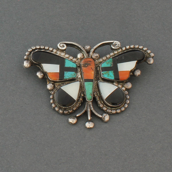 Old Zuni Inlay Butterfly Pin of Complex Inlay