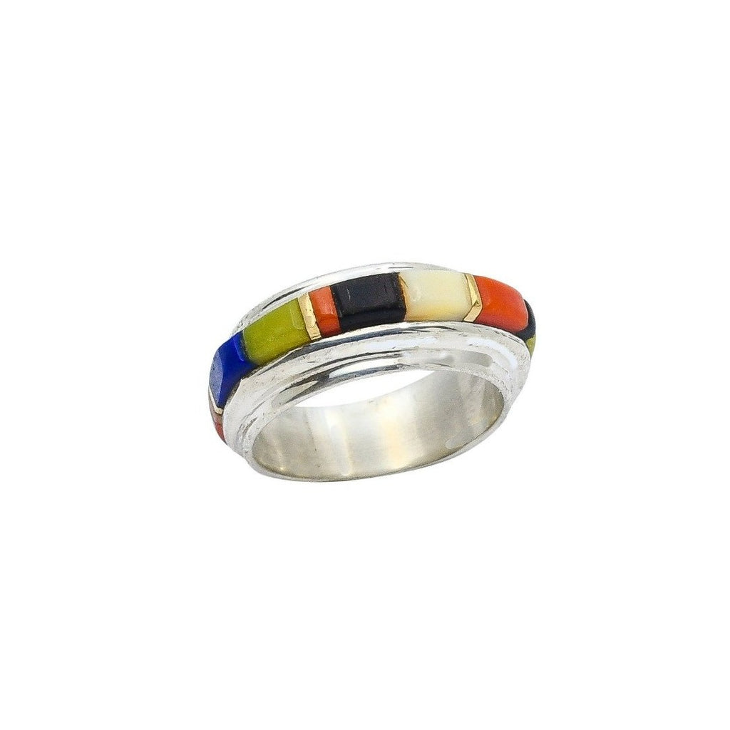Charles Loloma Ring of Multi Stone Inlay