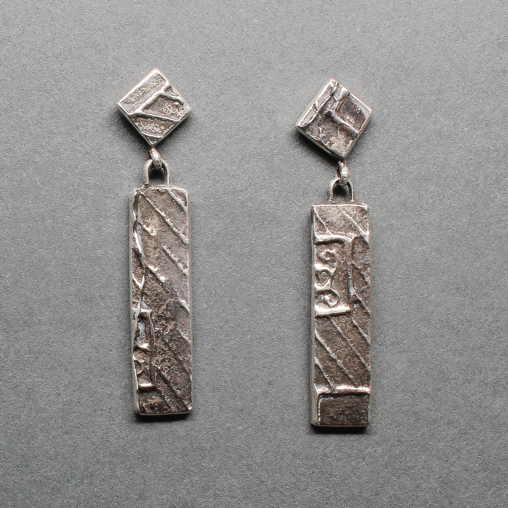 Cheyenne Custer Silver Tufa Cast Dangle Earrings
