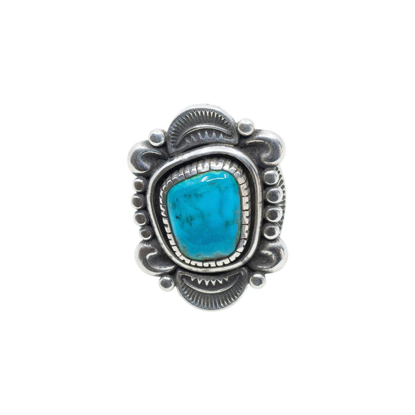 Clendon Pete Ring of Natural Morenci Turquoise