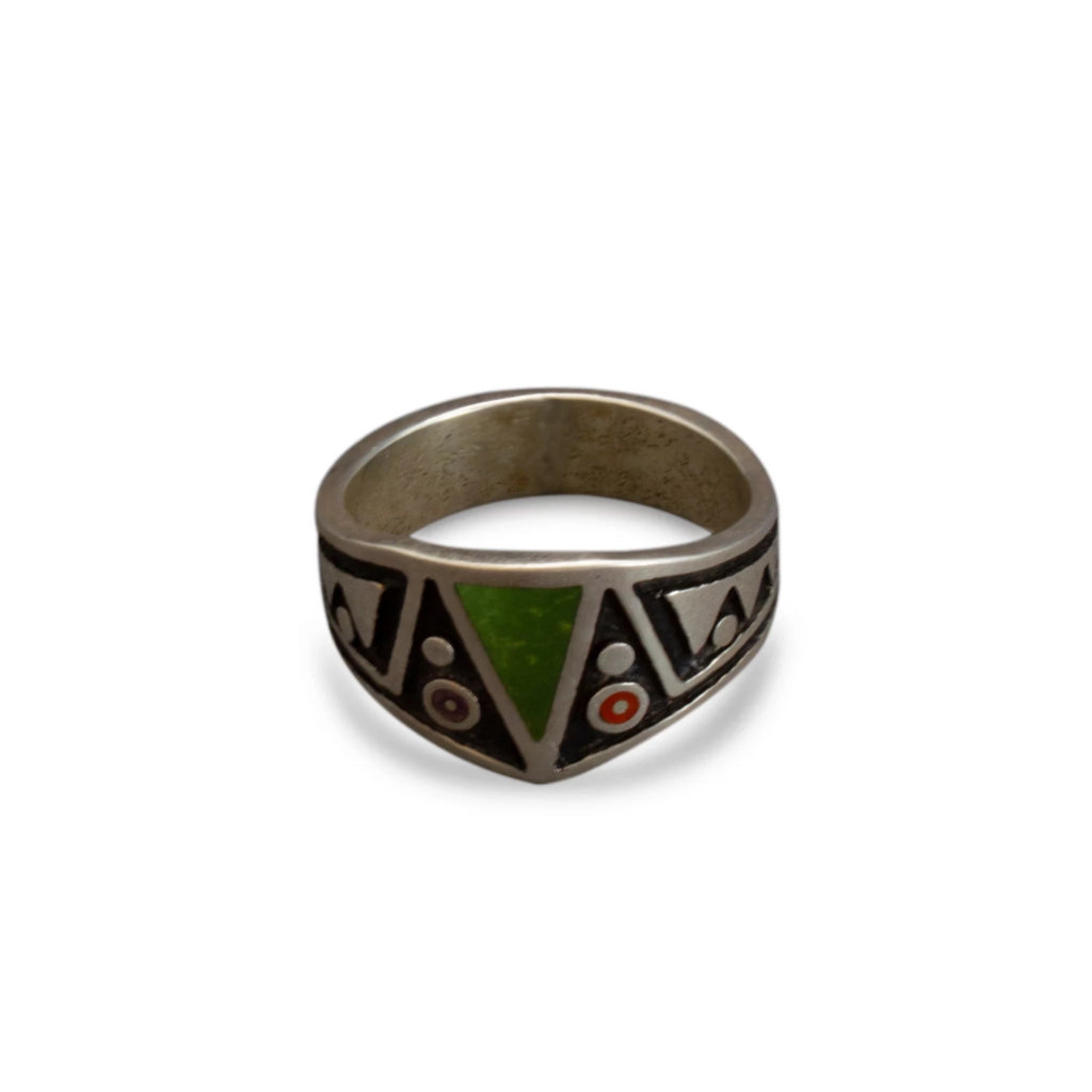 Boyd Tsosie Navajo Silver Ring With Inlay Stones