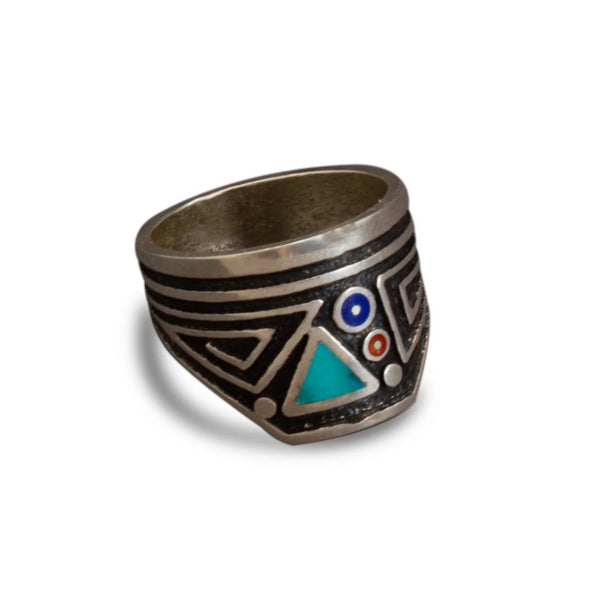 Silver Ring With Inlay By Boyd Tsosie