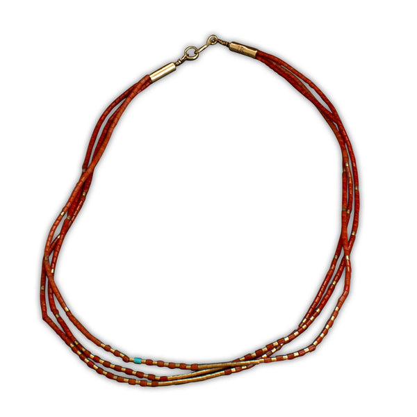 Johnny and Marlene Rosetta Necklace 3 Strands of Natural Coral and Gold