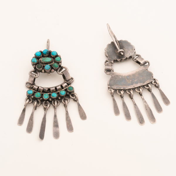 Vintage Navajo Dangle Earrings of Turquoise and Silver Clusters