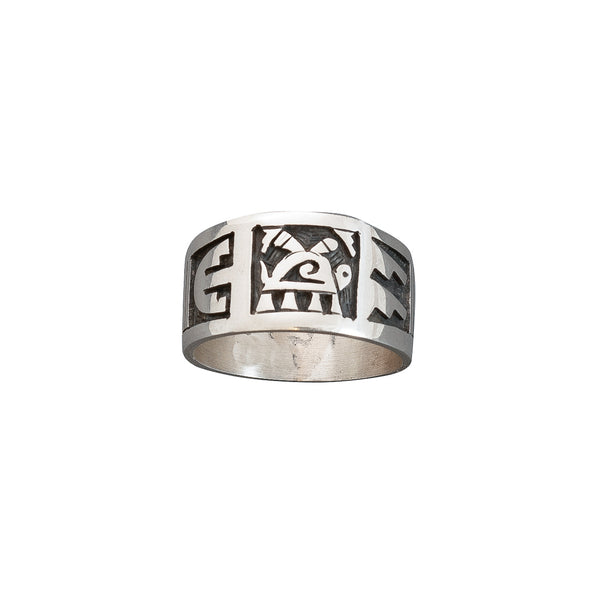 Large Hopi Overlay Turtle Ring By Darren Silas