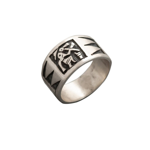Hopi Overlay Ring by Darren Silas With Flute Player