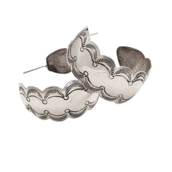 Debbie Silversmith Hoop Earrings of Stamped Scallops