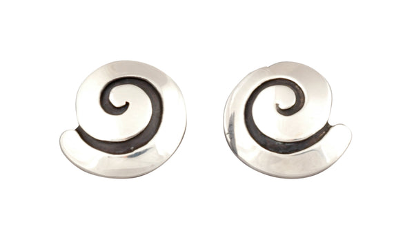 Silver Swirl Earrings by Debbie Silversmith