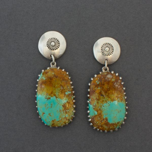 Navajo Debbie Silversmith Dangle Turquoise Earrings