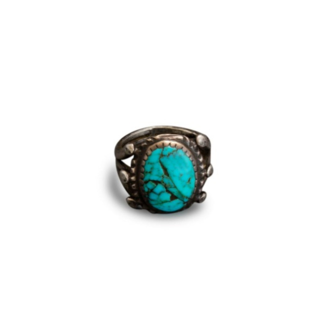 Early Turquoise Ring of Silver