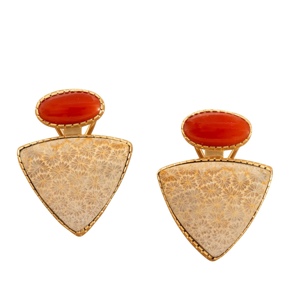 Earrings by Gail Bird and Yazzie Johnson of Natural Red Mediterranean Coral and Natural Fossilized Alaskan Coral in 18kt gold