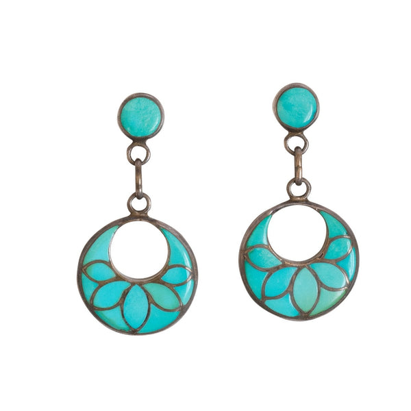 Frank Vacit Earrings of Turquoise Inlay