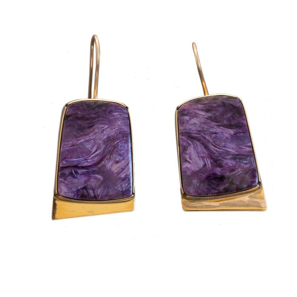 Gail Bird and Yazzie Johnson Earrings of Purple Charoite and 14kt Gold Drops