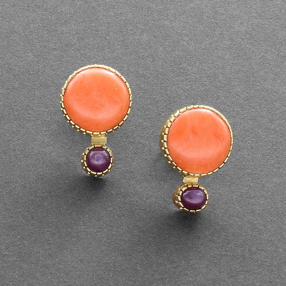 Gail Bird and Yazzie Johnson Earrings of Coral and Ruby