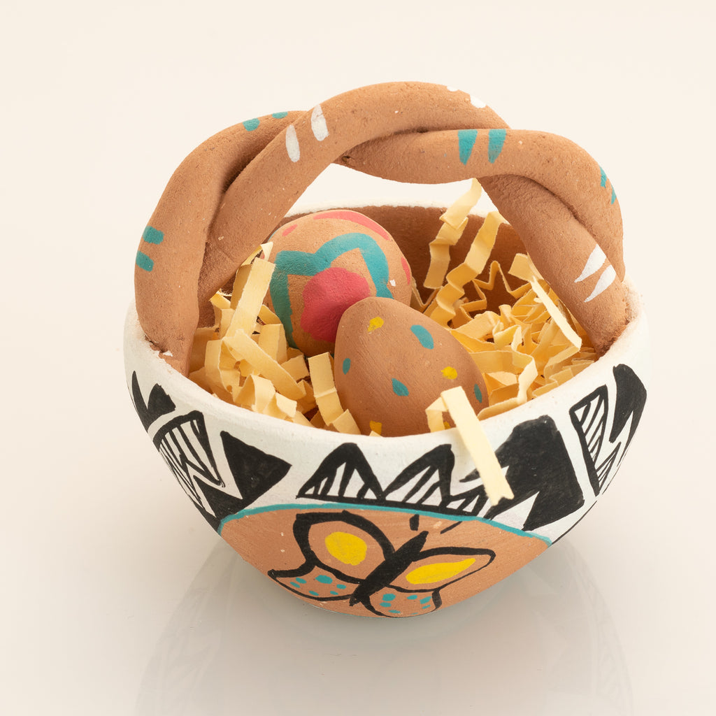 San Felipe Pueblo Pottery Easter Basket and Eggs
