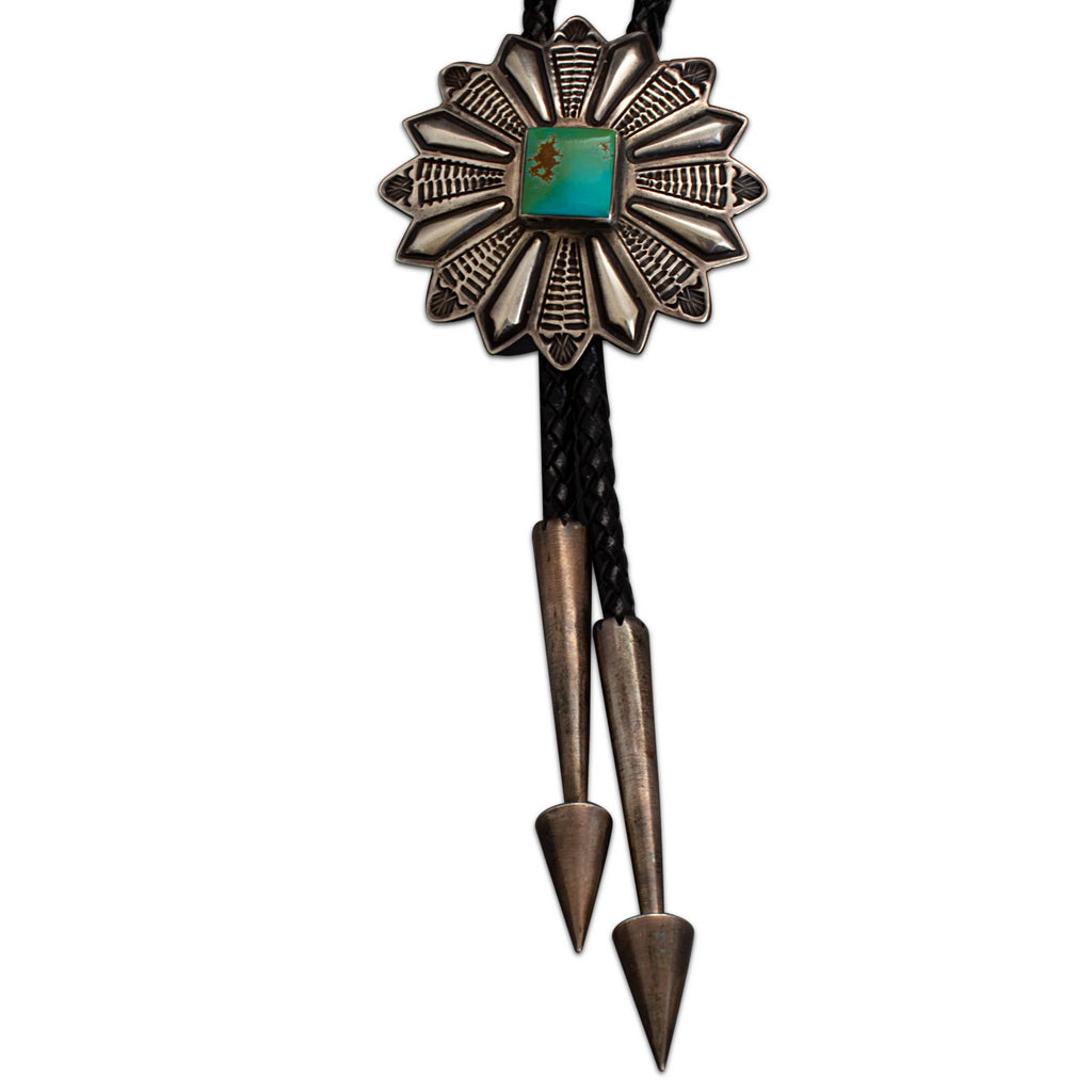 Vintage Navajo Bolo of Silver & Turquoise by Harry H. Begay
