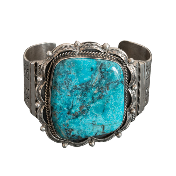 Vintage Wide Navajo Turquoise Cuff Bracelet By Henry Sam