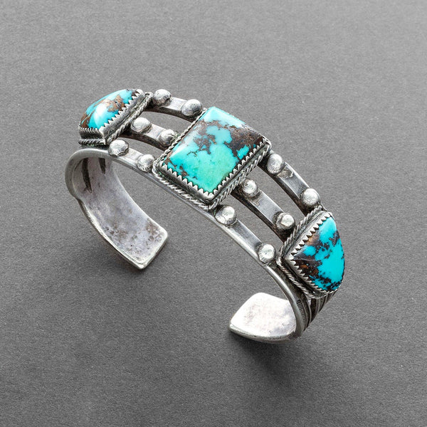 Historic Navajo Bracelet Set With Three Natural Turquoise Stones