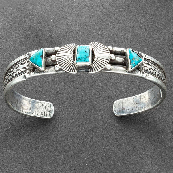 Vintage Navajo Silver Bangle Bracelet Set With 3 Turquoise Stones